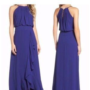 Eliza J Blouson Silver Necklace Gown in Blue